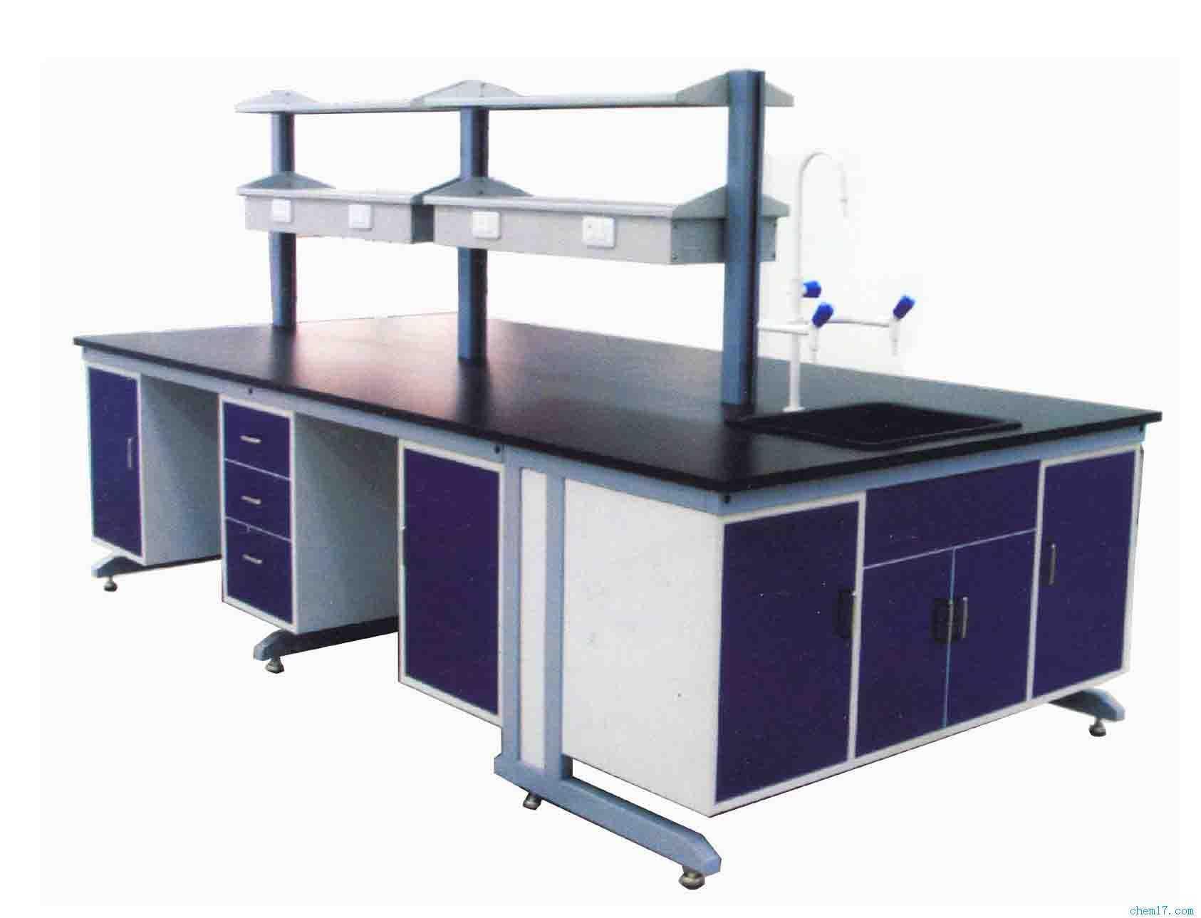 1 钢木结构,板木结构和带试剂架的中央实验台