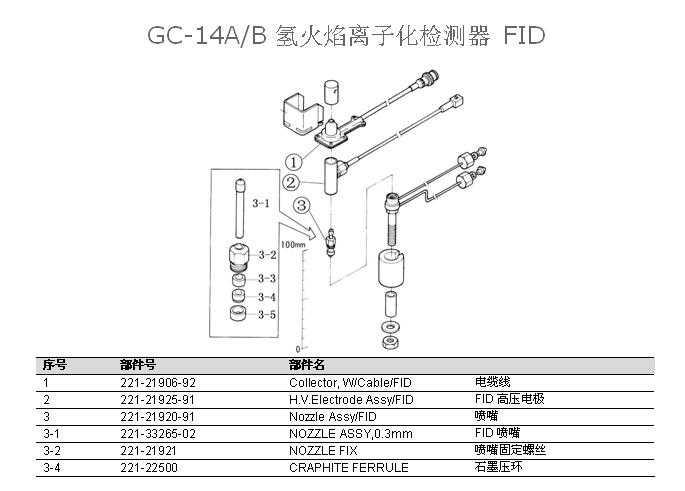 岛津gc-14a(b)氢火焰检测器 fid配件