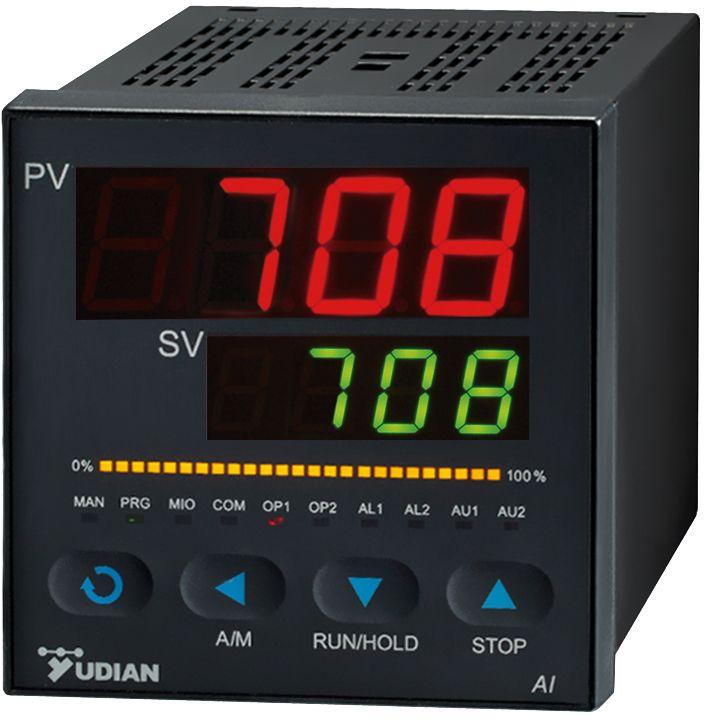 精确稳定、功能强大 供应电炉控制专用温度控制器AI-708厂家  支持各种热电偶、热电阻、线性电压、电流、电阻及辐射(红外)温度计等,并具备扩充输入插座安装特殊输入规格,并可自定义特殊输入的非线性校正表格,可外接Cu50铜电阻作为热电偶冷端补偿,0.1级(V8.0版)测量精度,温漂小于50PPm/。  高精度测量与控制温度、压力、流量等,尽可能减少能源浪费,并提供长达十年的免费保修,实现客户与社会效益zui大化。  模块化输出支持SSR电压、线性电流(电压)、继电器触点开关、可控硅无触点开关、单相、